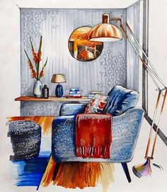 Art Painting For Home Decoration Product Interior Architecture Drawing, Interior Design Renderings, Drawing Interior, Interior Rendering, Interior Sketch, Architecture Design, Classical Architecture, Stunning Wallpapers, Copics