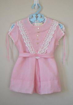 Vintage 1970s Girl's Pink Lace Trim Dress Size 2T /