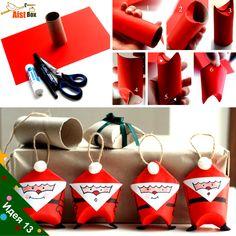 """AistBox: 30 идей Нового Года: Елочные игрушки """"Бумажные Деды Морозы"""""""