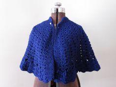 Navy Blue Handmade Vintage Shawl or Poncho Small by prancinggoat, $19.00