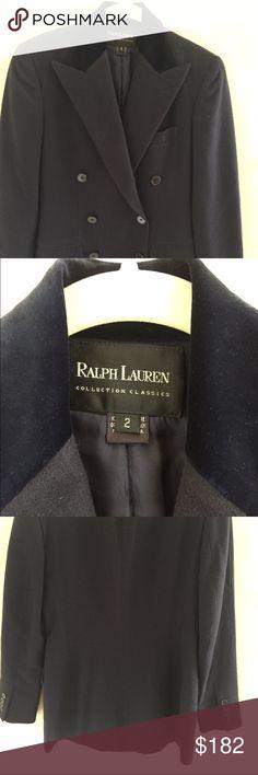Ralph Lauren cashmere blazer Navy blue cashmere double breasted blazer. Velvet collar/lapel. Silk lined. Ralph Lauren Jackets & Coats Blazers
