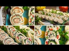 Tortilla rolls - quick snacks for a party Easy Salad Recipes, Easy Salads, Quick Snacks, Quick Meals, Snacks Für Die Party, Crab Stuffed Avocado, Light Summer Dinners, Cottage Cheese Salad, Tortilla Rolls