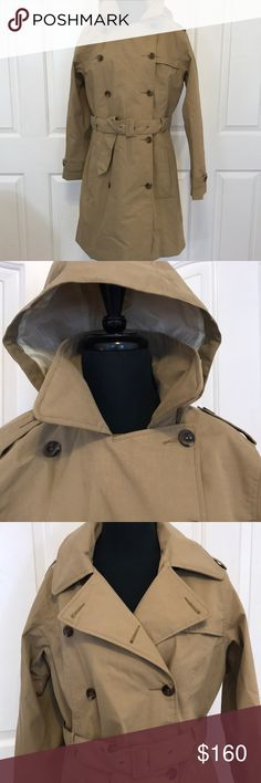 North Face NWOT Allena Trench Coat Large * Long trench coat style rain jacket * Removable zippered hood w/ adjustable cord * Internal medial pocket & cord guide to keep technology dry. The North Face Jackets & Coats Trench Coats