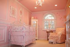Sweet And Feminine Design Collections Of Pink Baby Room: Lovely Sherri Blum Pink Baby Room Design Inspiration with Mini White Chandelier and White Baby Crib also Mirror Door White Baby Closet – GreenupHouse Interior Decoration and Furniture