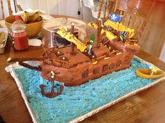 Veggie tales pirate ship cake