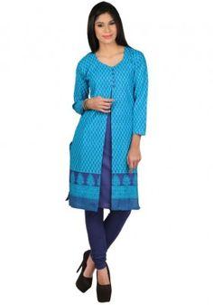 Exclusive Turquoise Print Designer Kurti