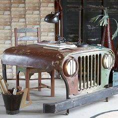 Fancy - Reclaimed Jeep Office Desk-Description Feel like you're going on Safari with this unique Desk. An office table with soul, this Jeep styled workstation is a quirky addition to any interior.