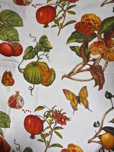 Le Telerie Toscane Butterflies Pomegranate Fruit Cotton Tablecloth 68 X 104 #LeTelerieToscane