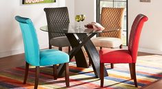 Del Mar Ebony 5 Pc Round Dining Set with Red Chairs