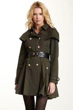 Bebe Belted Caplet Trench Coat