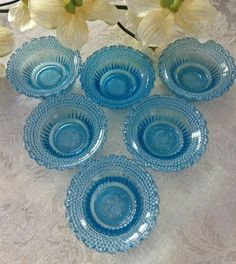6 Aqua Blue Votive Tea Light Holders Hob Nail  by KathyKupboard, $18.00