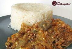 Una receta muy agradecida, variación de la receta de setas con jamón con un toque exótico, gracias al arroz basmati y la leche de coco.