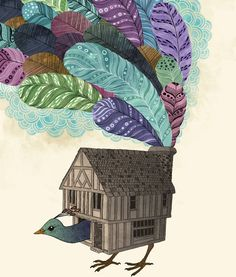 birdhouse revisited Art Print by Laura Graves   Society6