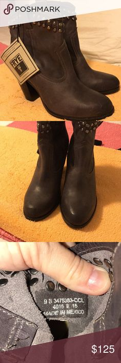NWT Frye Jenny charcoal grey studded boots size 9B NWT Frye Jenny charcoal grey studded boots size 9B. Too snug for me. No box. Frye Shoes Heeled Boots