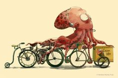 Items similar to Illustration print- Octopus on Ice cream Harley Davidson Bikes in Hurry Watercolor & Ink Drawing- wall decor on Etsy Cthulhu, Kraken, Watercolor And Ink, Watercolor Illustration, Bicycle Illustration, Watercolor Trees, Watercolor Portraits, Watercolor Landscape, Watercolor Painting