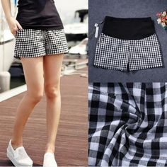 2015 Summer New Black And White Plaid Cotton Pregnant Women Maternity Shorts Linen Pants Care Belly Thin Shorts