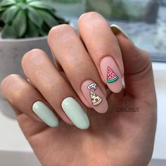 Impressive and Beautiful Nail Art for This Winter * 14 nail art designs,nail art summer,nail art diy,nail art facile,nail art winte. Easy Nails, Easy Nail Art, Simple Nails, Nail Art Ideas, Nail Art Disney, Fall Nail Art Designs, Fruit Nail Designs, Cute Nail Designs, Best Acrylic Nails