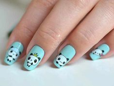 Cute Panda Baby Blue Nail Art