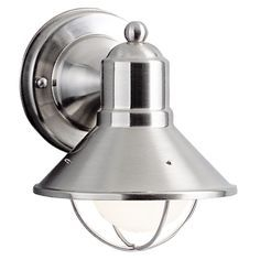Kichler Lighting Nautical Outdoor Wall Light in Brushed Nickel - 7-1/2-Inches Tall 9021NI $45