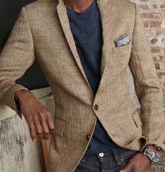 lightly textured jacket + dark blue T