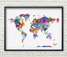World map art print watercolor poster wall art by PaulArtPrint