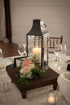 Candle lantern centerpieces.. but I don't know how tall they ...