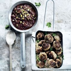 Lamb meatballs with rhubarb sauce