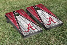 Alabama Crimson Tide Cornhole Game Set Triangle Weathered Version