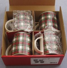 Love me some plaid!!! Set Four Nikko Tartan Christmas Plaid Coffee Mugs | eBay