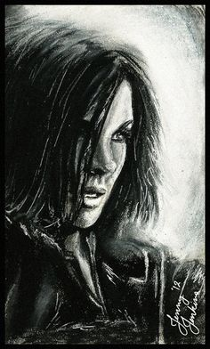 Selene (Kate Beckinsale) from Underworld: Awakening Drawing Time: 3 1/2 hours. ish. Charcoal Pencil HB Charcoal Stick White Chalk Pastel White Gel Pen .9mm Mechanical Pencil/ eraser Just saw the ne...