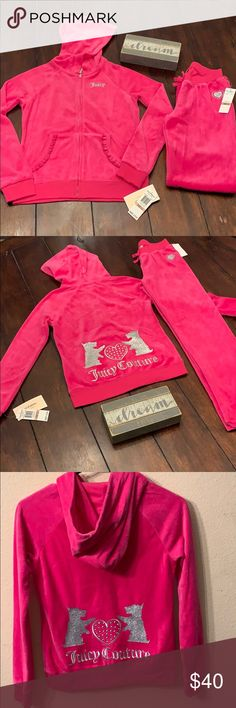 NWT Juicy Couture Velour Matching set NWT Juicy Couture Velour Tracksuit •  Size 12 • Hot 077749ff1