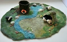 3D Large Waldorf Nature Table Play Mat wet felted by FeltedbyBetti