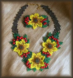 Set Beaded Sunflower and viburnumNecklace by BeadedJewelryVirunia