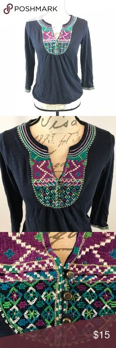 Lucky Brand Live in Love Blue Embroidered Top 100 % Cotton, soft, comfy, and stylish. Lucky Brand Tops Crop Tops