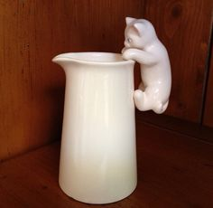 Vintage white kitty cat pitcher/creamer by TheCatzPajamas on Etsy