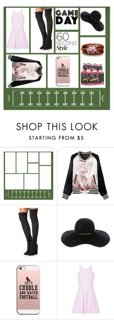 """""""60 Second Style: Game Day"""" by maria-charp ❤ liked on Polyvore featuring Aquazzura, Eugenia Kim, Casetify and Elizabeth and James"""