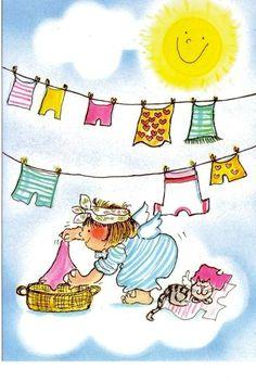 Laundry and clothesline - Virpi Pekkala Illustration Illustrations, Illustration Art, Illustration Pictures, Laundry Art, Vintage Laundry, Clothes Line, Art Themes, Whimsical Art, Belle Photo