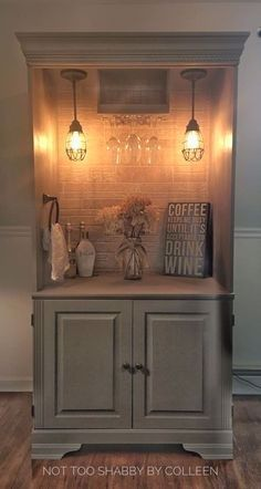Repurposed wardrobe armoire converted to a lighted dry bar - by Not Too Shabby b. Repurposed wardrobe armoire converted to a lighted dry bar - by Not Too Shabby by Colleen, Vintage Industrial Furniture, Refurbished Furniture, Bar Furniture, Repurposed Furniture, Shabby Chic Furniture, Kitchen Furniture, Furniture Makeover, Painted Furniture, Bedroom Furniture