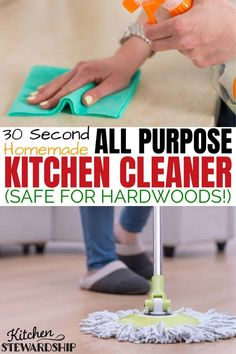 It takes 30 seconds to mix up this homemade all purpose cleaner. It's safe to clean hardwood floors, kitchen counters and bathrooms. Make your own DIY all purpose cleaner today!
