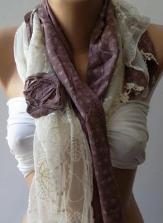 Lilac  Elegance Shawl / Scarf with Lace Edge by womann on Etsy, $19.90