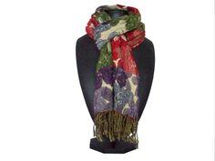 Multi stripe red ruffle scarf