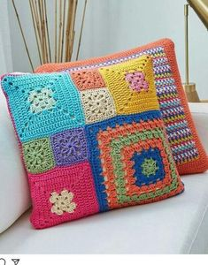 Basketweave Tunisian Crochet Pillow - Page 16 of 35 - apronbasket . Crochet Pillow Cases, Crochet Cushion Cover, Crochet Pillow Pattern, Crochet Square Patterns, Crochet Motifs, Crochet Cushions, Tunisian Crochet, Crochet Squares, Crochet Designs