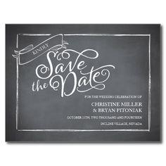 Chalkboard Script White Save the Date Postcard