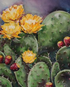 Choose your favorite prickly pear cactus paintings from millions of available designs. All prickly pear cactus paintings ship within 48 hours and include a money-back guarantee. Cactus Painting, Cactus Art, Cactus Flower, Cactus Plants, Watercolor Flowers, Watercolor Paintings, Painting Abstract, Acrylic Paintings, Oil Paintings