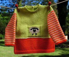layette pull petit mouton en laine coloré 3 mois neuf tricotée main