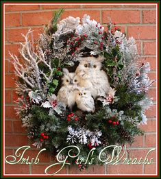 Gray Winter Owl Family Christmas Wreath, by Irish Girl's Wreaths