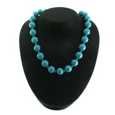 """Yellow Gold GP Simulated Turquoise 16"""" Necklace 423D #StrandString"""