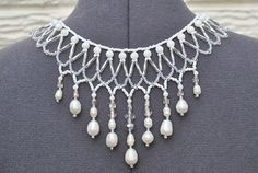 White Beaded Bridal Statement Necklace by TeraSueHandmade on Etsy