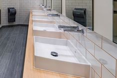 Tubular series matching touch free faucets and automatic soap dispensers by Stern installed in a commercial washroom in Romania Sanitary Products, Automatic Soap Dispenser, Soap Dispensers, Washroom, Faucets, Romania, Sink, Commercial, Bathtub