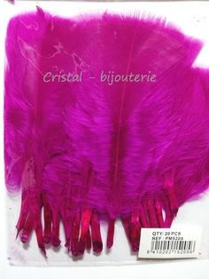 ♥PLU5-06♥ 20 PLUMAS NATURALES TEÑIDAS PUNTA RECTA FEATHER  FUCSIA 10 CM♥